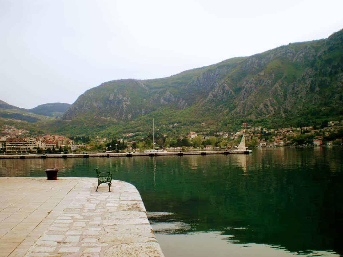 kotor montenegro bench view