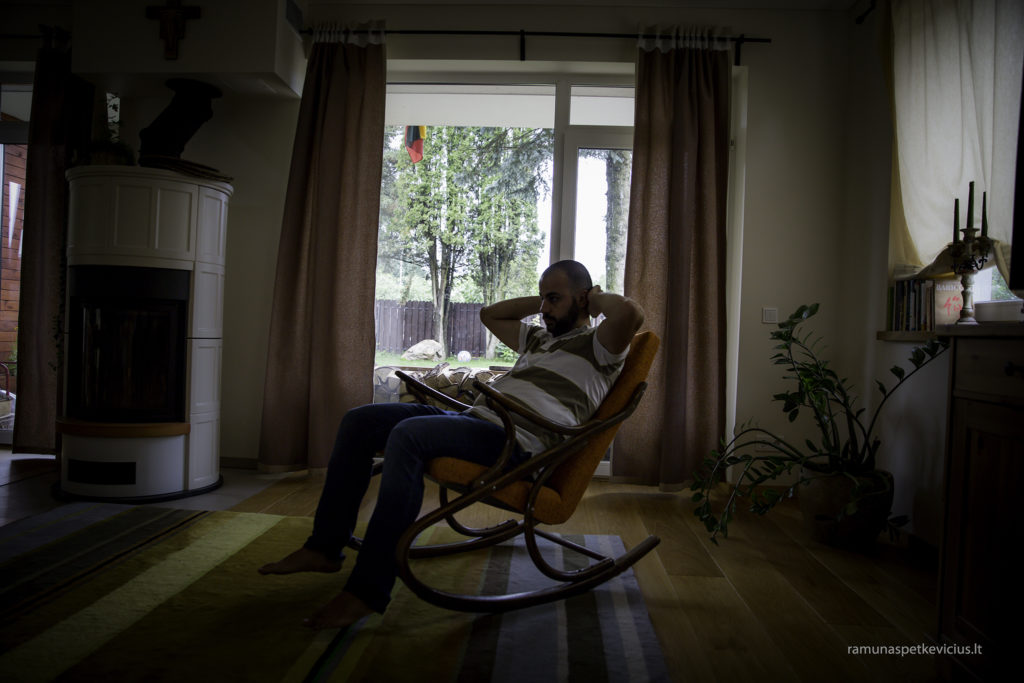 man in a rocking chair