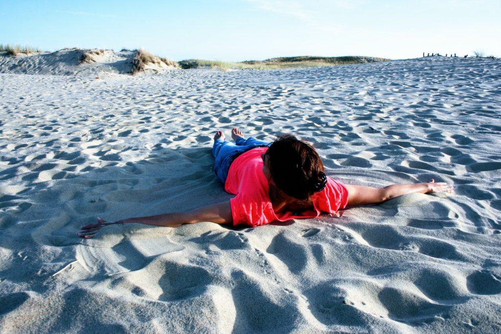 Making sand angels
