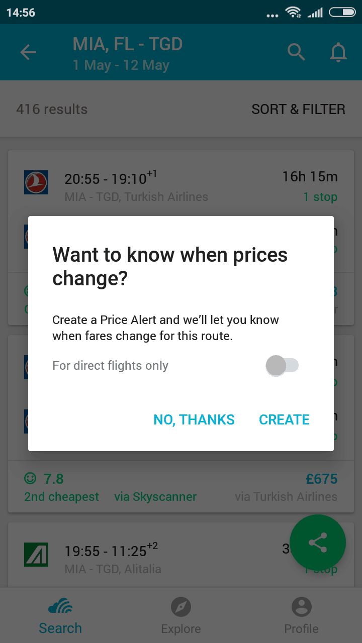 Skyscanner mobile app price alert