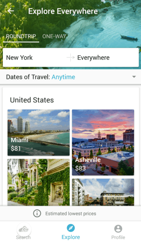 Skyscanner mobile app everywhere search