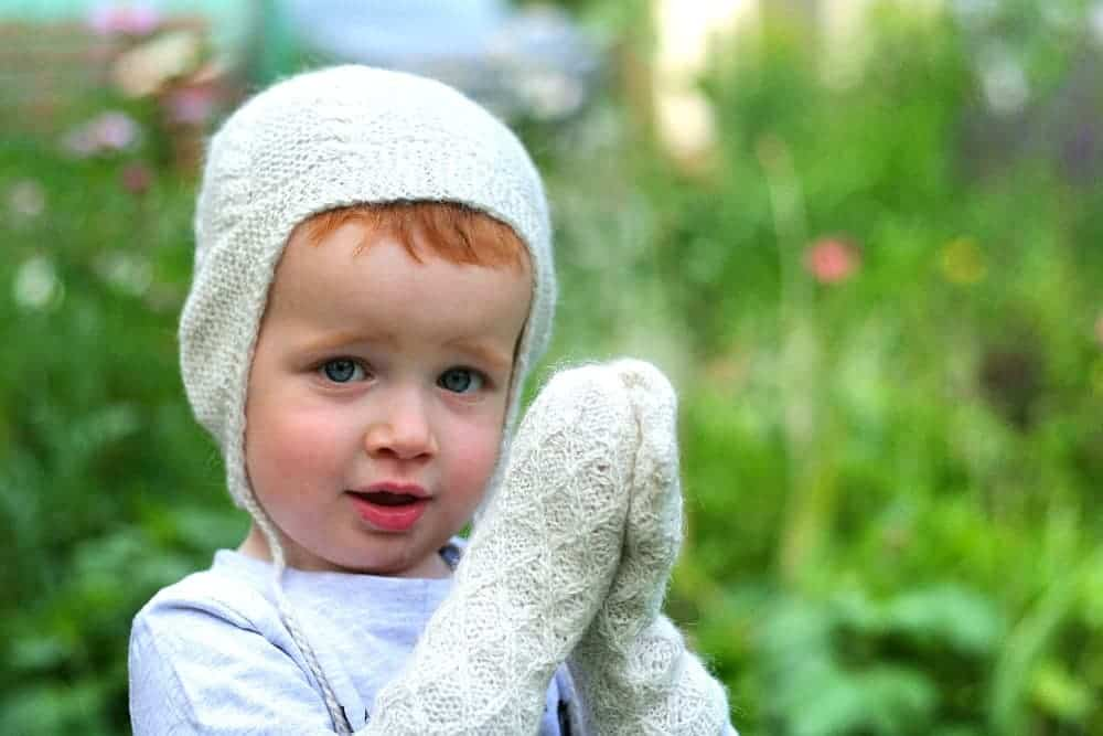 alpaca wool mittens and hat