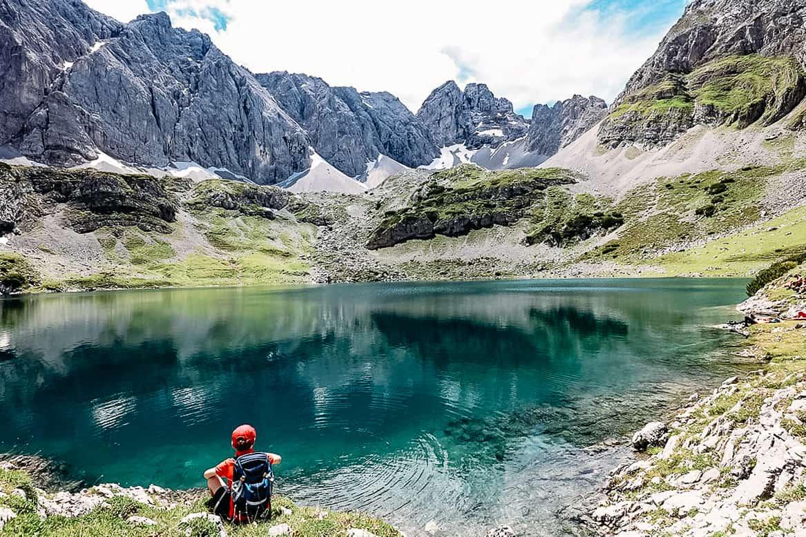 tyol austria kid alpine lake mountain