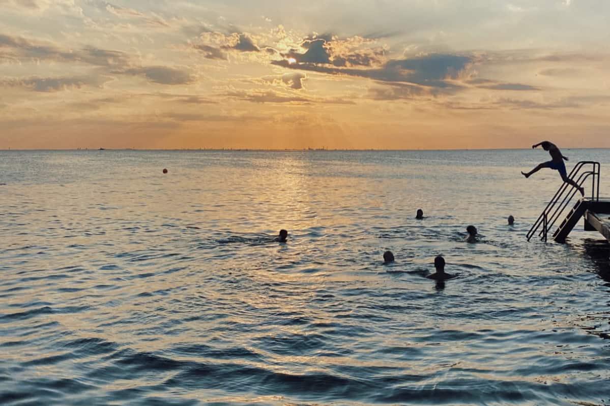 Skane in summer sunset swimming