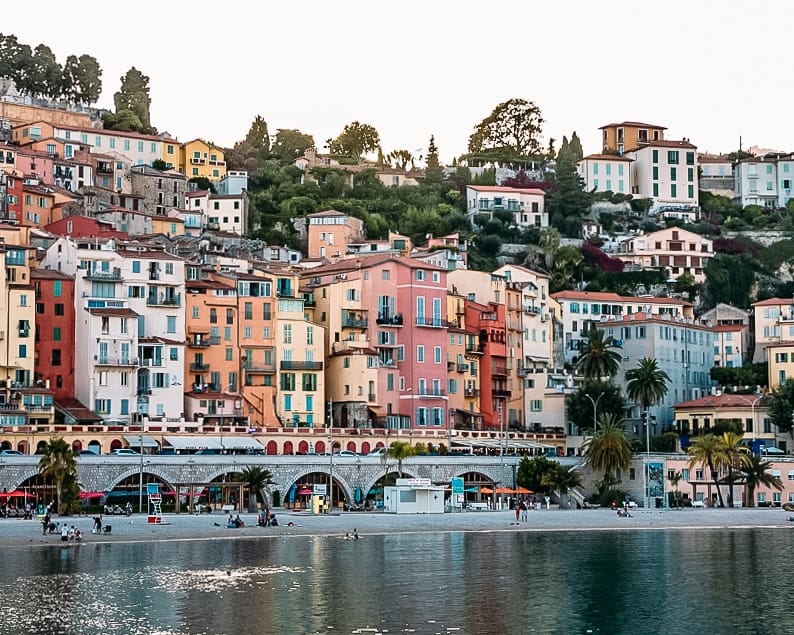 french riviera colorful houses